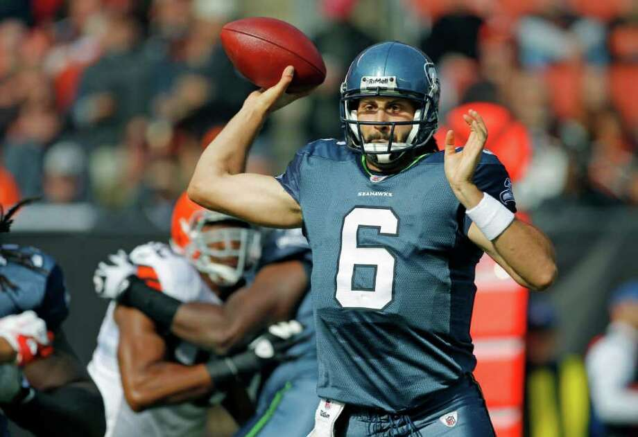 Seattle Seahawks quarterback Charlie Whitehurst passes against the Cleveland Browns in the first quarter in an NFL football game on Sunday, Oct. 23, 2011, in Cleveland. Photo: AP