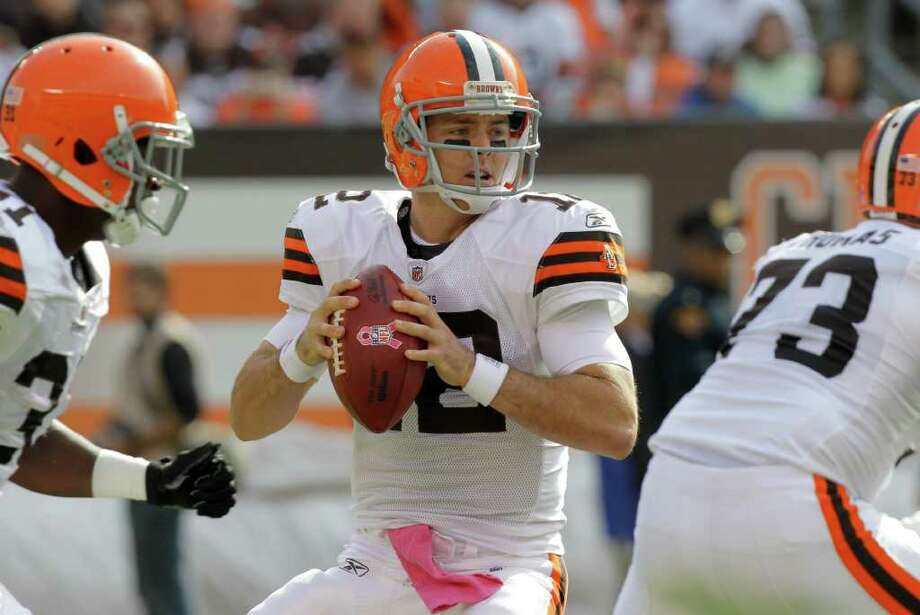 Cleveland Browns quarterback Colt McCoy goes back to pass against the Seattle Seahawks in the first quarter of NFL football game Sunday, Oct. 23, 2011, in Cleveland. Photo: AP