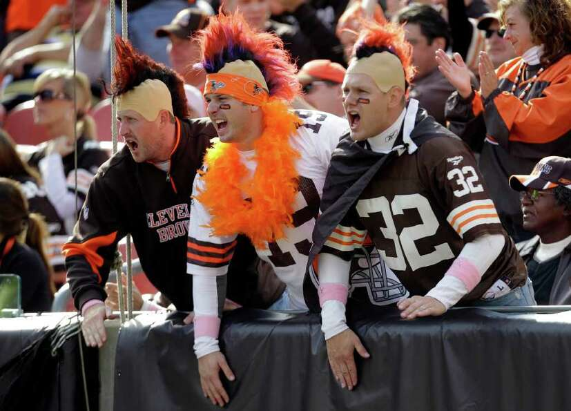 Cleveland Browns fans cheer on their team against the Seattle Seahawks in the first quarter of an NF