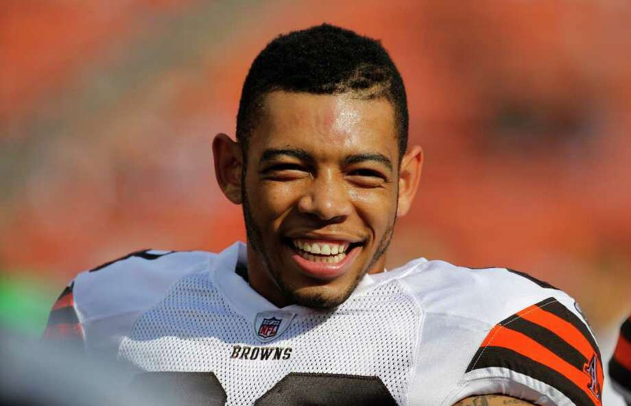 Cleveland Browns cornerback Joe Haden is seen on the field before facing the Seattle Seahawks in an NFL football game on Sunday, Oct. 23, 2011, in Cleveland. Photo: AP