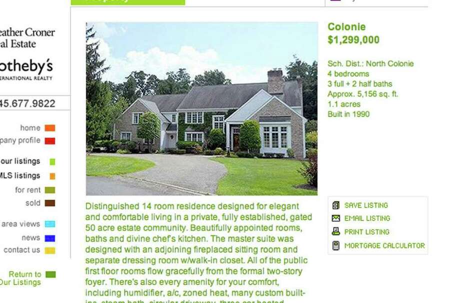 Screen grab from real estate listing for Chancellor Nancy L. Zimpher's home in Colonie. Chancellor Zimpher is asking $1.299 million. / 00015089A