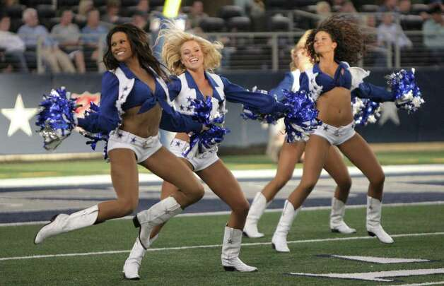 Dallas Cowboys cheerleader during the the NFL football game at Cowboys Stadium in Arlington, Texas, Sunday, Oct. 23, 2011. (AP Photo/Brandon Wade) Photo: Brandon Wade, Associated Press / FR168019 AP