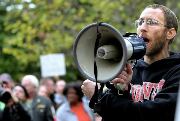 Mike Rancourt of Troy, a facilitator for the general assembly, speaks during Occupy Albany on Friday, Oct. 21, 2011, at Academy Park in Albany, N.Y. (Cindy Schultz / Times Union) Photo: Cindy Schultz, Albany Times Union / 00015065A