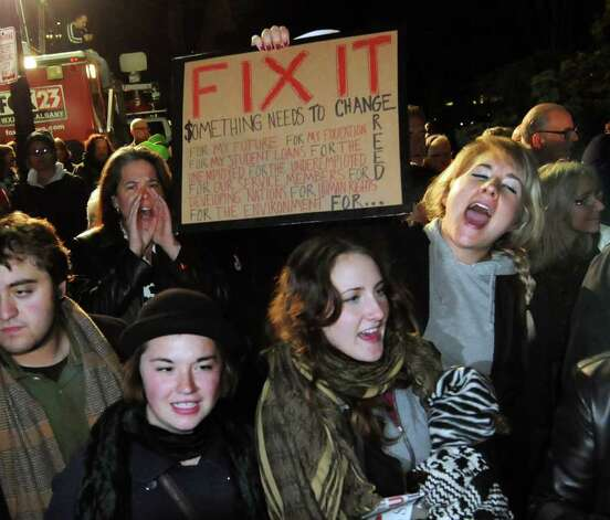 Participants join in the chanting during Occupy Albany on Friday, Oct. 21, 2011, at Academy Park in Albany, N.Y. (Cindy Schultz / Times Union) Photo: Cindy Schultz, Albany Times Union / 00015065A