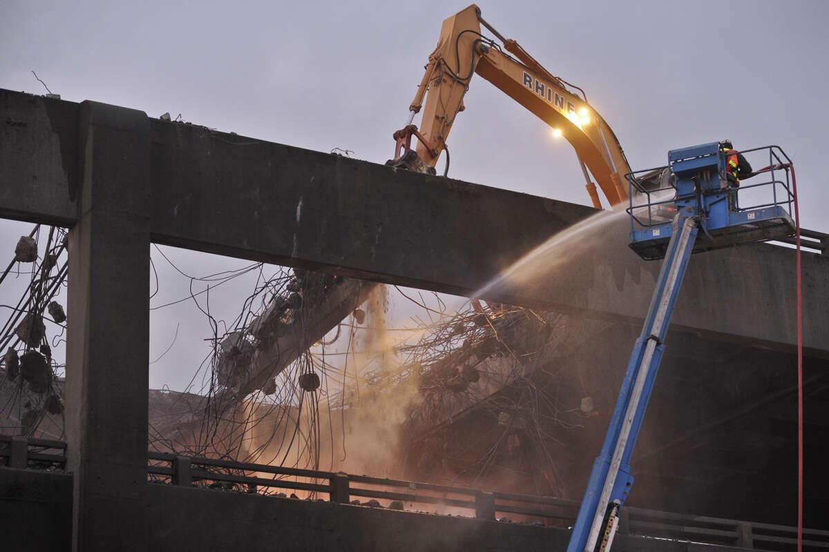 The Alaskan Way Viaduct demolition on Sunday, Oct. 23, 2011.