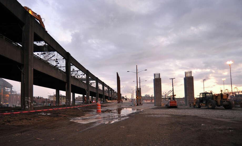 The Alaskan Way Viaduct demolition on Sunday, Oct. 23, 2011. Photo: WSDOT