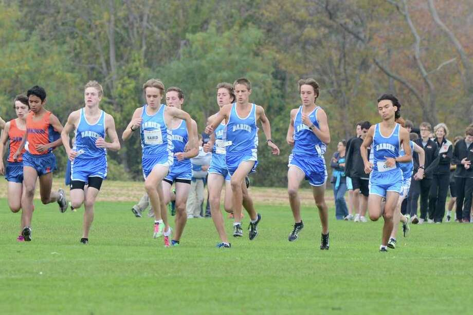The Darien High School team competes in the FCIAC cross country championships at Waveny Park in New Canaan, CT on Monday October 24, 2011. Photo: Shelley Cryan / Shelley Cryan freelance; Stamford Advocate freelance