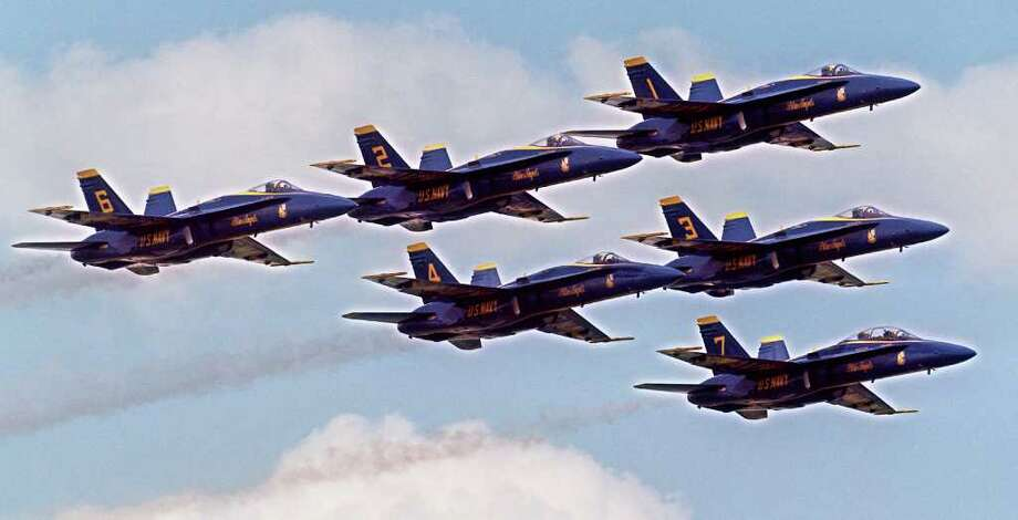 """""""Blue Angels"""" practice for a previous air show. Photo: Rick Hunter"""