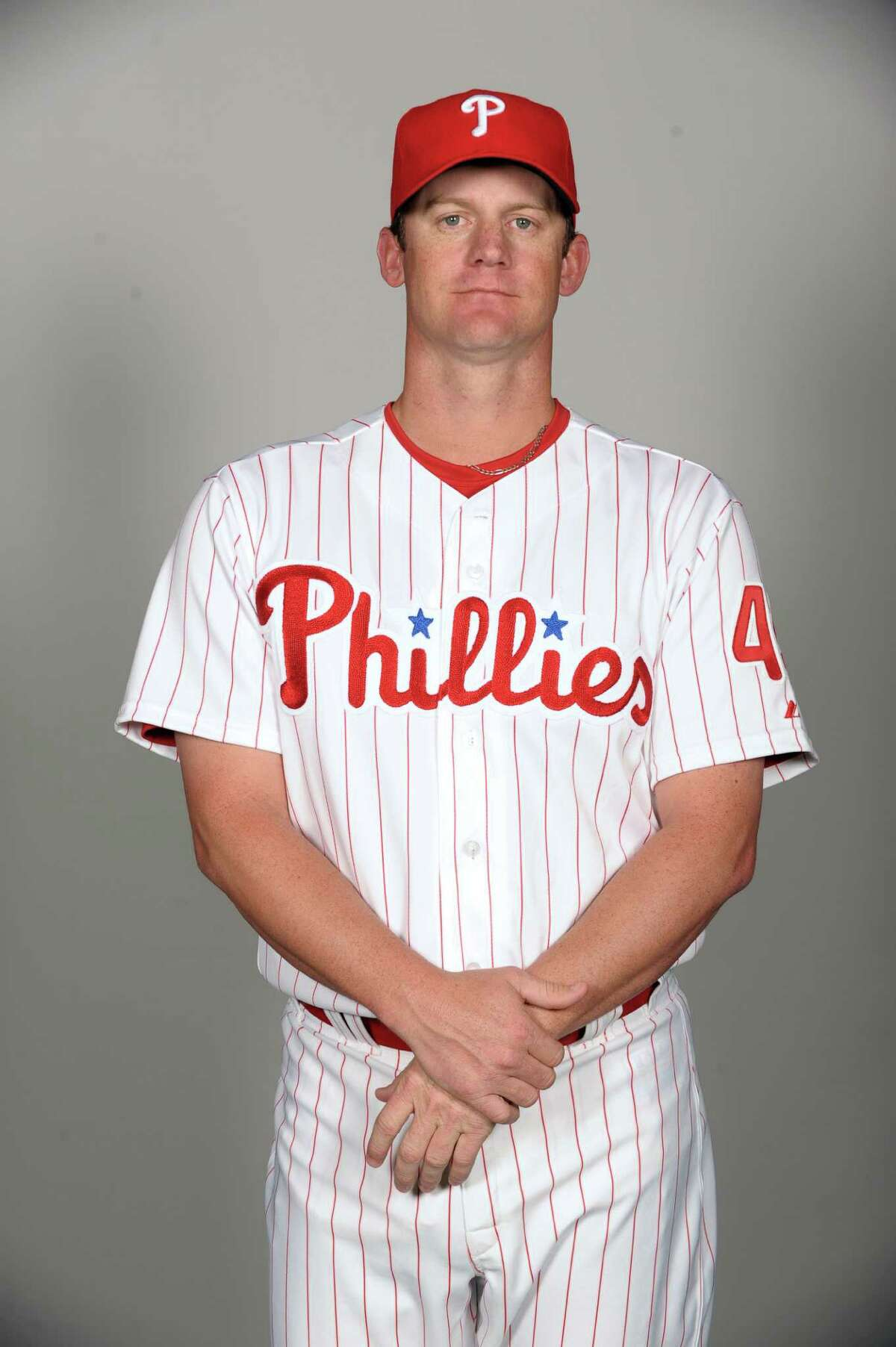 CLEARWATER, FL - FEBRUARY 22: Roy Oswalt #44 of the Philadelphia Phillies poses during Photo Day on Tuesday, February 22, 2011, at Bright House Field in Clearwater, Florida. (Photo by Tony Firriolo/MLB Photos via Getty Images) *** Local Caption ***