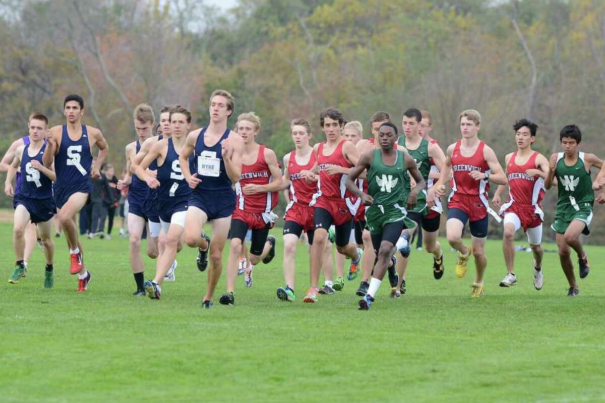 Teams compete in the FCIAC cross country championships at Waveny Park in New Canaan, CT on Monday October 24, 2011.