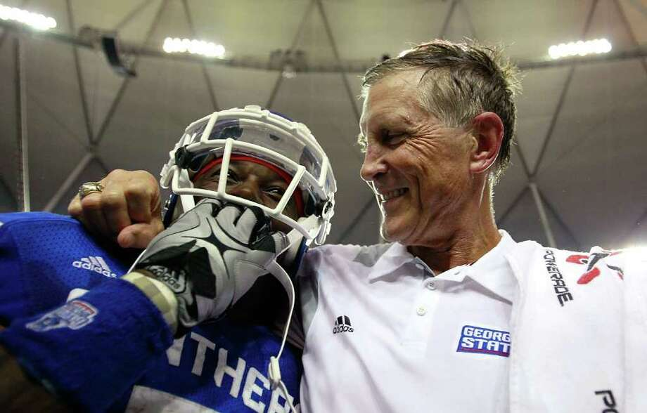Head coach Bill Curry of the Georgia State Panthers celebrates their 41-7 win over the Shorter Hawks with Parris Lee #7 at Georgia Dome on September 2, 2010 in Atlanta, Georgia.  (Photo by Kevin C. Cox/Getty Images) Photo: Kevin C. Cox, Getty Images / 2010 Getty Images