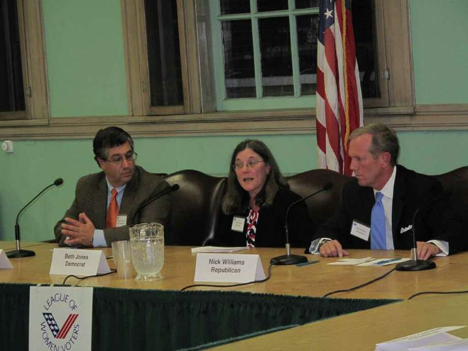 First Selectman candidate Rob Mallozzi and selectman candidates Beth Jones and Nick Williams spoke on their priorities at the League of Women Voter's Forum Monday night. Photo: Paresh Jha