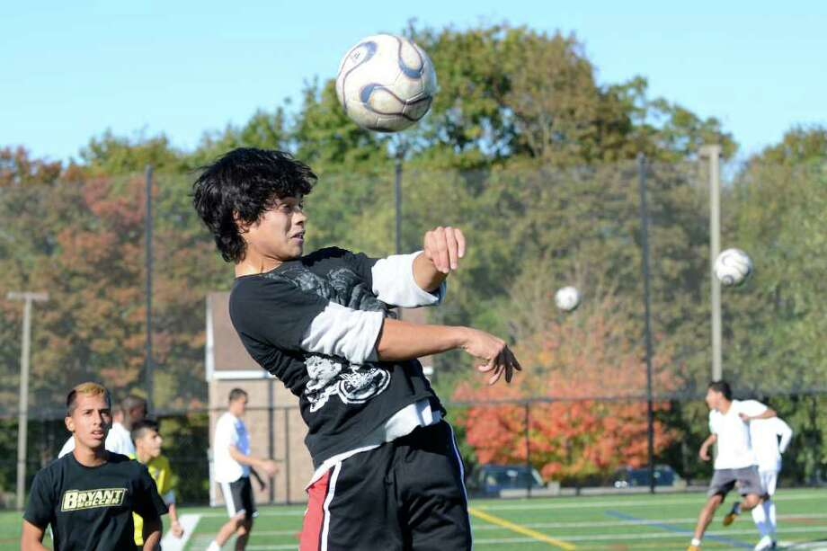Deigo Calderon, 18, practices with the boys varsity soccer team at Westhill High School in Stamford, CT on Tues., Oct. 25, 2011. Photo: Shelley Cryan / Shelley Cryan freelance; Stamford Advocate freelance