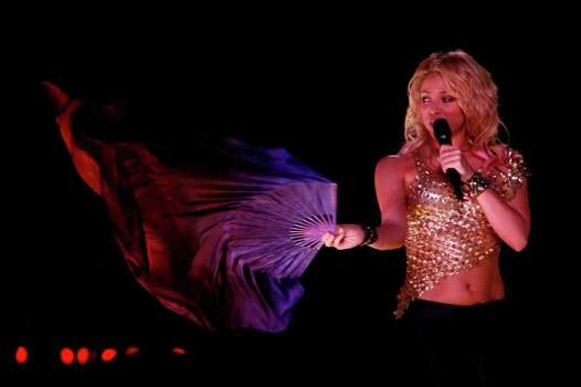 Colombian singer Shakira performs during a concert in San Juan, Puerto Rico, Friday, October 14, 2011. Photo: AP