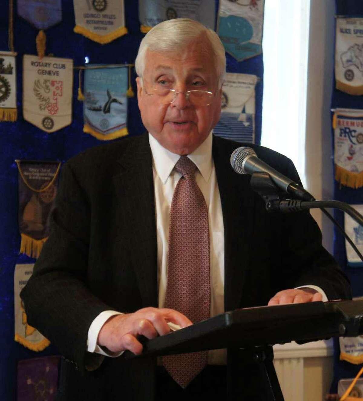 Superintendent of Schools Elliott Landon addresses the Westport Rotary Club at the Inn at Longshore on Tuesday, Oct. 25, 2011.