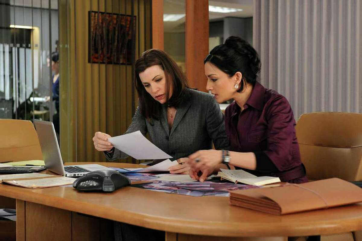 """Julianna Margulies, 44, left, seen with Archie Panjabi, has a lead role in the television show """"The Good Wife."""""""