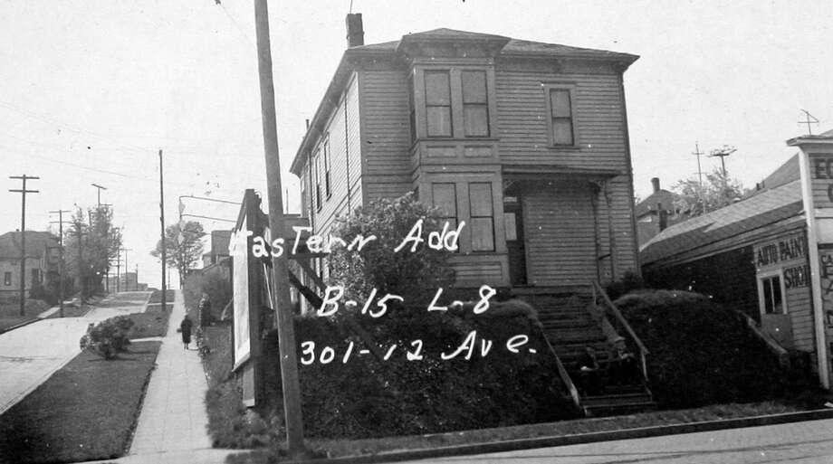 This image isn't dated, but based on assessor notes it appears to have been taken in 1937. Numbers and other marks indicate the property description. Photo: Puget Sound Regional Branch Of The Washington State Archives