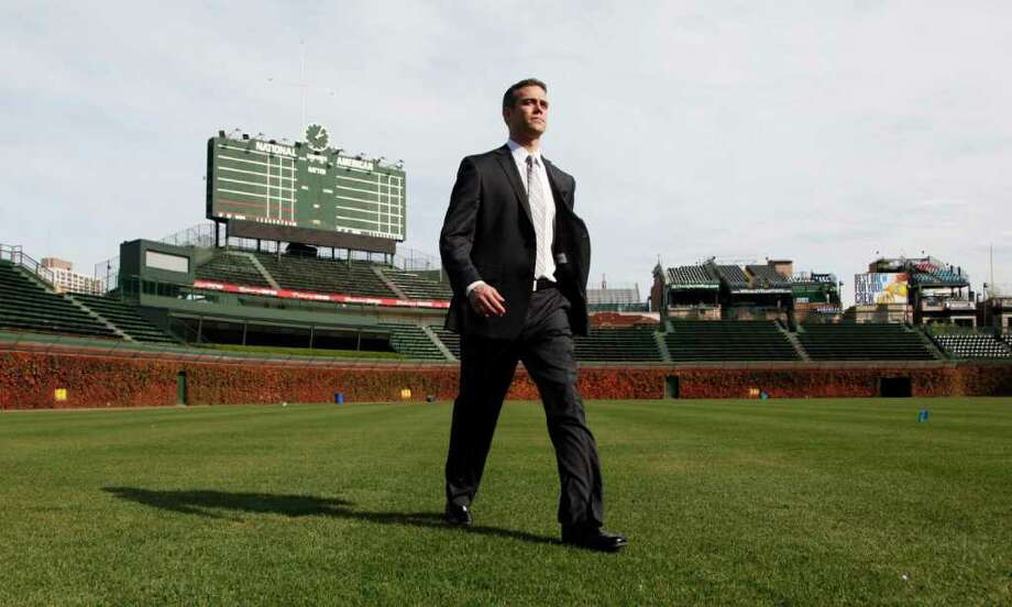 Chicago Cubs new president for baseball operations Theo Epstein walks across Wrigley Field after a news conference Tuesday, Oct. 25, 2011, in Chicago. (AP Photo/Charles Rex Arbogast) Photo: Charles Rex Arbogast