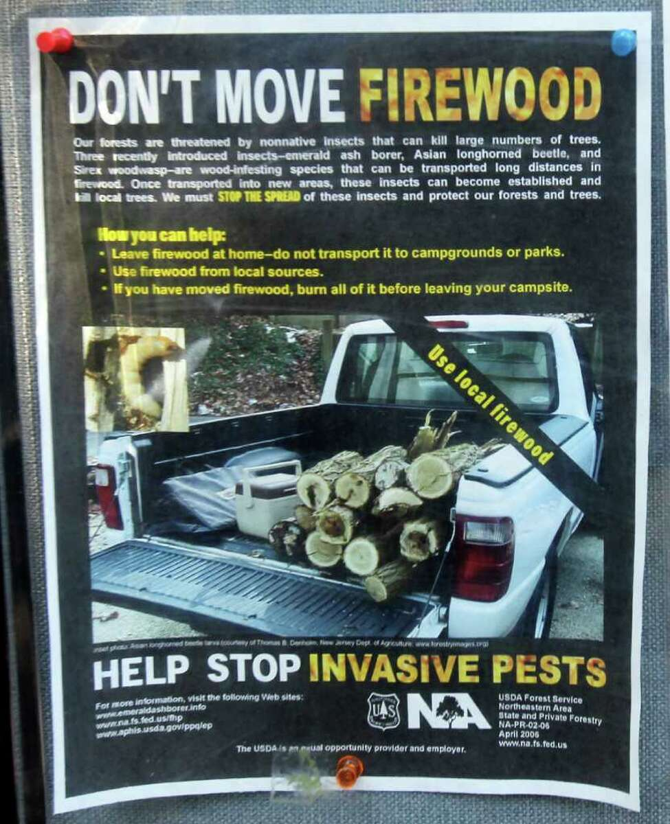 A poster warning of invasive pests hangs at the entry booth at Moreau Lake State Park in Moreau, N.Y., on Wednesday, July 27, 2011. Loggers and campers are being snared as New York steps up efforts to stem the spread of the destructive emerald ash borer. (AP Photo archive/Mike Groll)