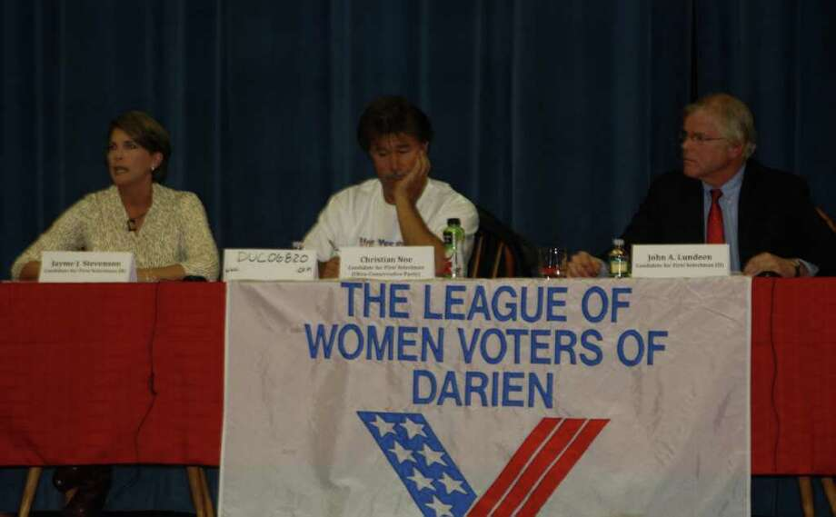 First selectman candidates, Republican Jayme Stevenson, Ultra-Conservative Chris Noe and Democrat John Lundeen discuss the shuffle project, affordable housing, flooding and other topics during the League of Women Voters debate Tuesday, Oct. 25. Photo: Ben Holbrook
