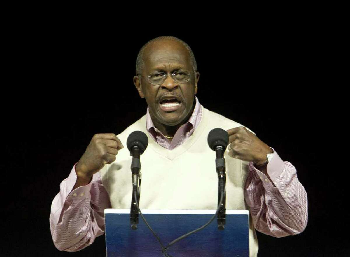 Presidential candidate Herman Cain speaks during the Clear Lake Tea Party Rally at Gulf Greyhound Park Tuesday, Oct. 25, 2011, in La Marque.