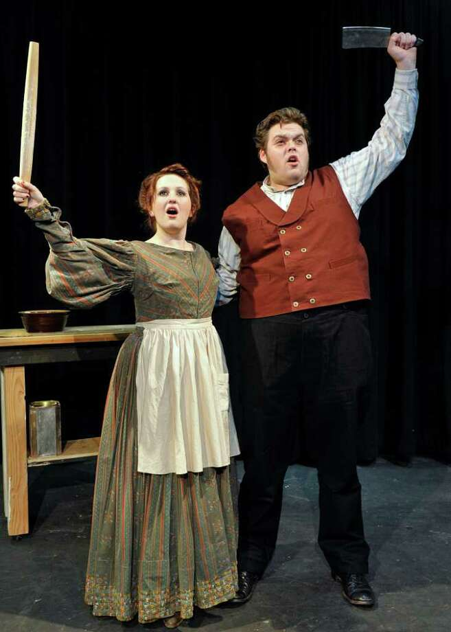 "Jessica Stark plays Mrs. Lovett and Andrew Hendrick is Sweeney Todd in Western Connecticut State University's production of ""Sweeney Todd,"" in Danbury. Photo: Contributed Photo/Peggy Stewart, Contributed Photo"