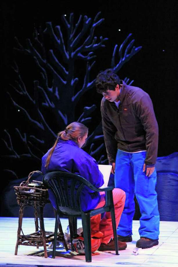 """Dave, played by Andrew Gruseke, tries to tell Tomboy, played by Katayoun Amir-Aslani, that he sees her as more than a friend in New Canaan High School's production of """"Almost Maine."""" The play continues its run today and Saturday in the high school auditorium. See page B9 for more information. Photo: Contributed Photo"""