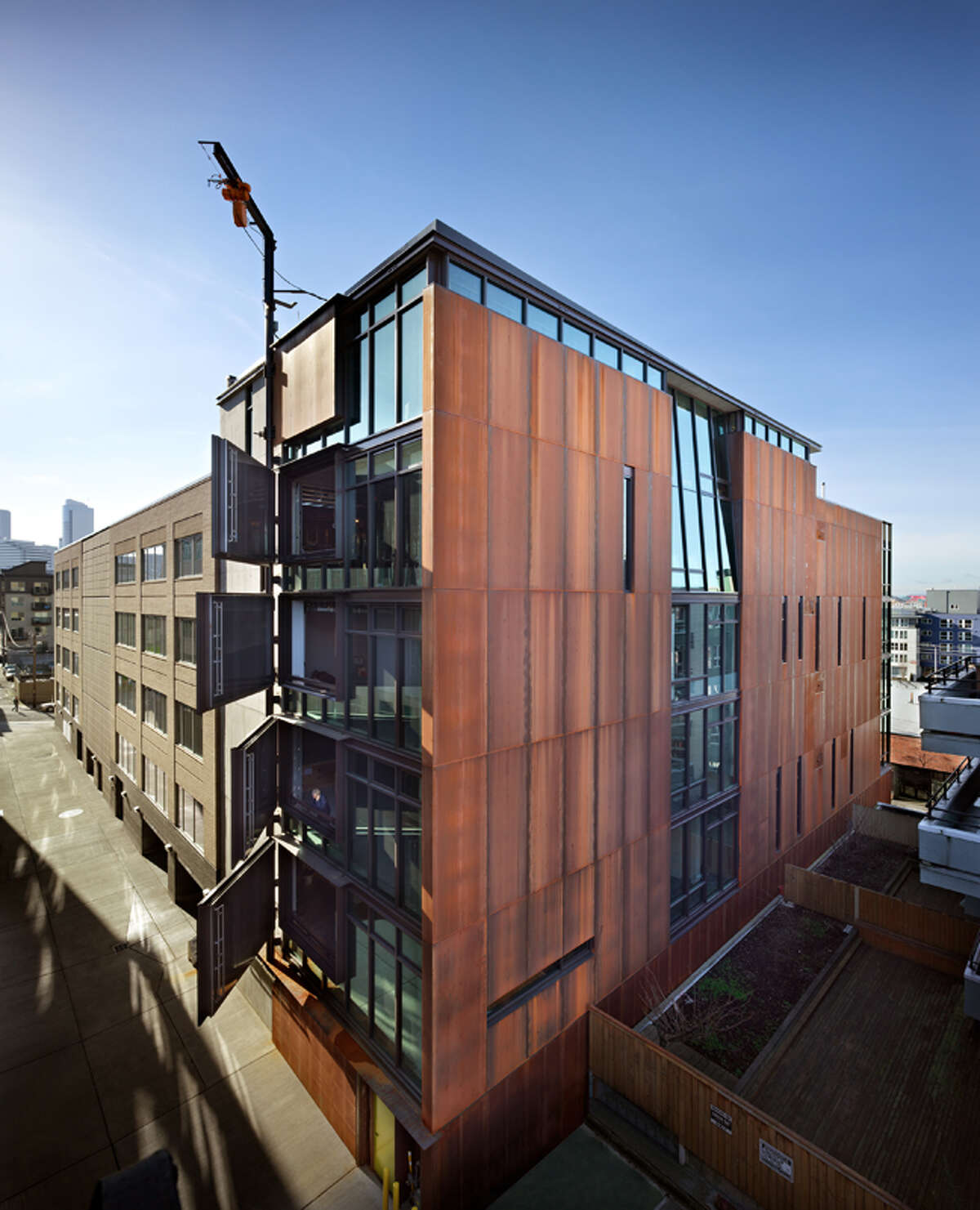 Each of Art Stable's five units has a large steel-clad door on the alley-facing side. A crane on the roof can lift large objects from the alley into each unit through the door. Unit 600, a 2,237-square-foot shell, is listed for $1.175 million.