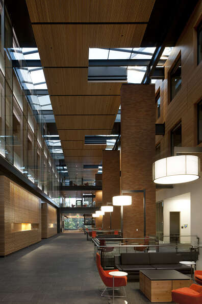 PACCAR Hall is a 132,000-square-foot modern building sitting amid the UW's classic architecture. The