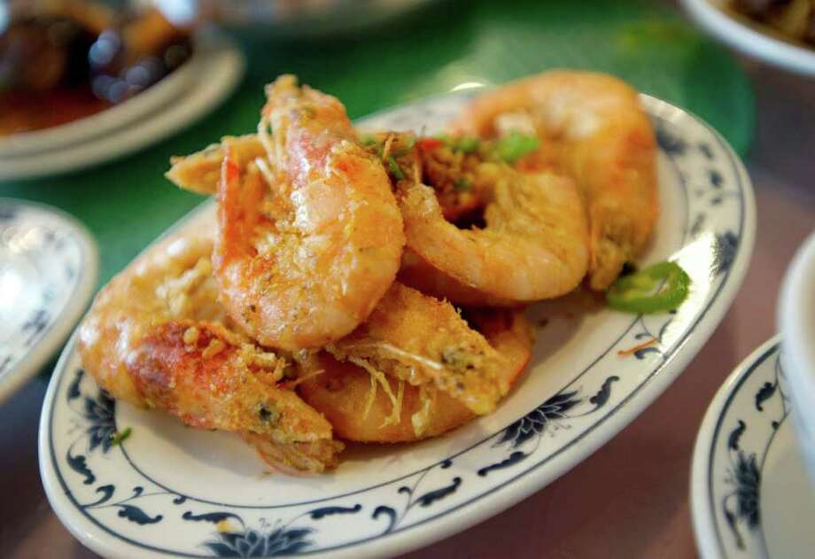 Pepper shrimp at Central Seafood in Hartsdale, N.Y. Photo: Chris Preovolos / Stamford Advocate