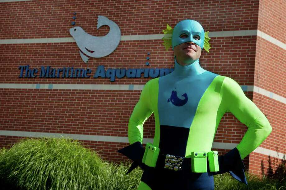 Captain Living Sound, who uses his super powers to keep watch over Long Island Sound, will be joining some of his crusading colleagues from Marvel at a special event at the Maritime Aquarium on Saturday, Oct. 29. Two shows are planned to help parents and kids become better environmental stewards. Photo: Contributed Photo / Stamford Advocate Contributed