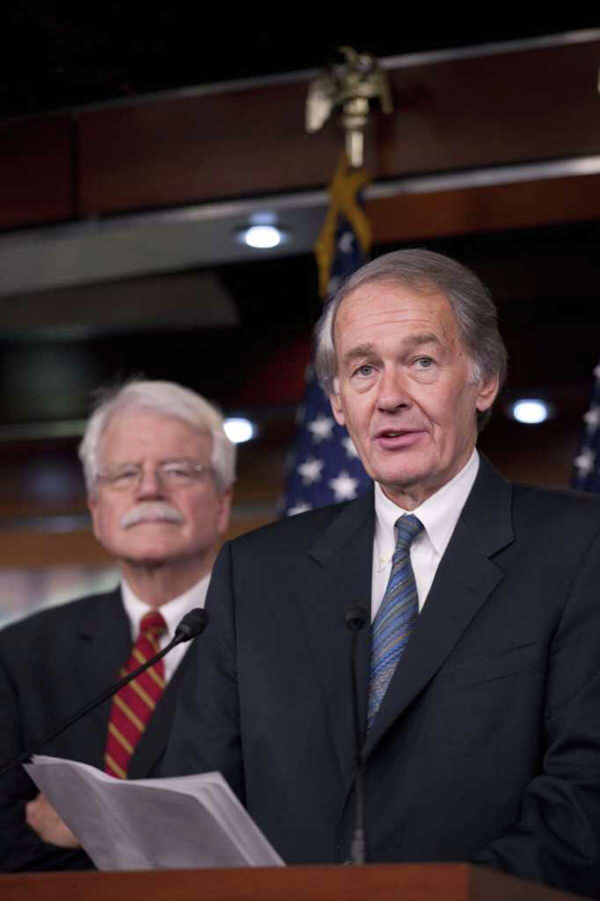 Rep. Ed Markey, D-Mass., right, accompanied by Rep. George Miller, D-Calif., speaks during a news conference on Capitol Hill in Washington, Wednesday, Jan. 26, 2011, to discuss the BP oil spill. (AP Photo/Harry Hamburg)