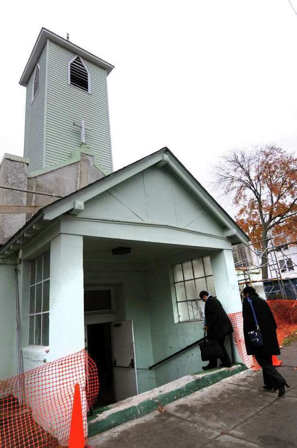 The former St. George?s Church becomes the Sister Maureen Joyce Center during the dedication ceremony on Wednesday, Oct. 26, 2011, in Albany, N.Y. (Cindy Schultz / Times Union) Photo: Cindy Schultz / 00015131A