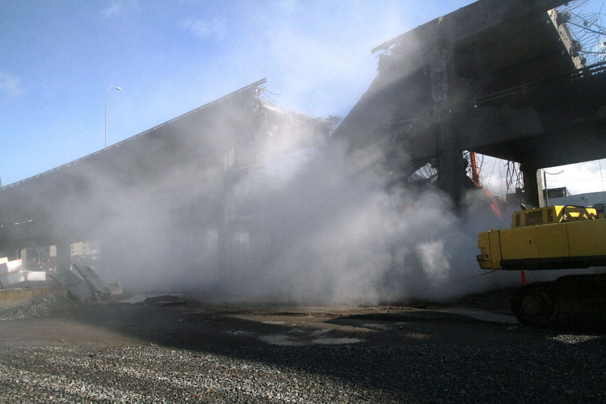 The Alaskan Way Viaduct demolition operation continues in Seattle. The highway, which normally carries 110,000 cars per day, is being partly demolished. The northern half is scheduled to reopen on October 31st.