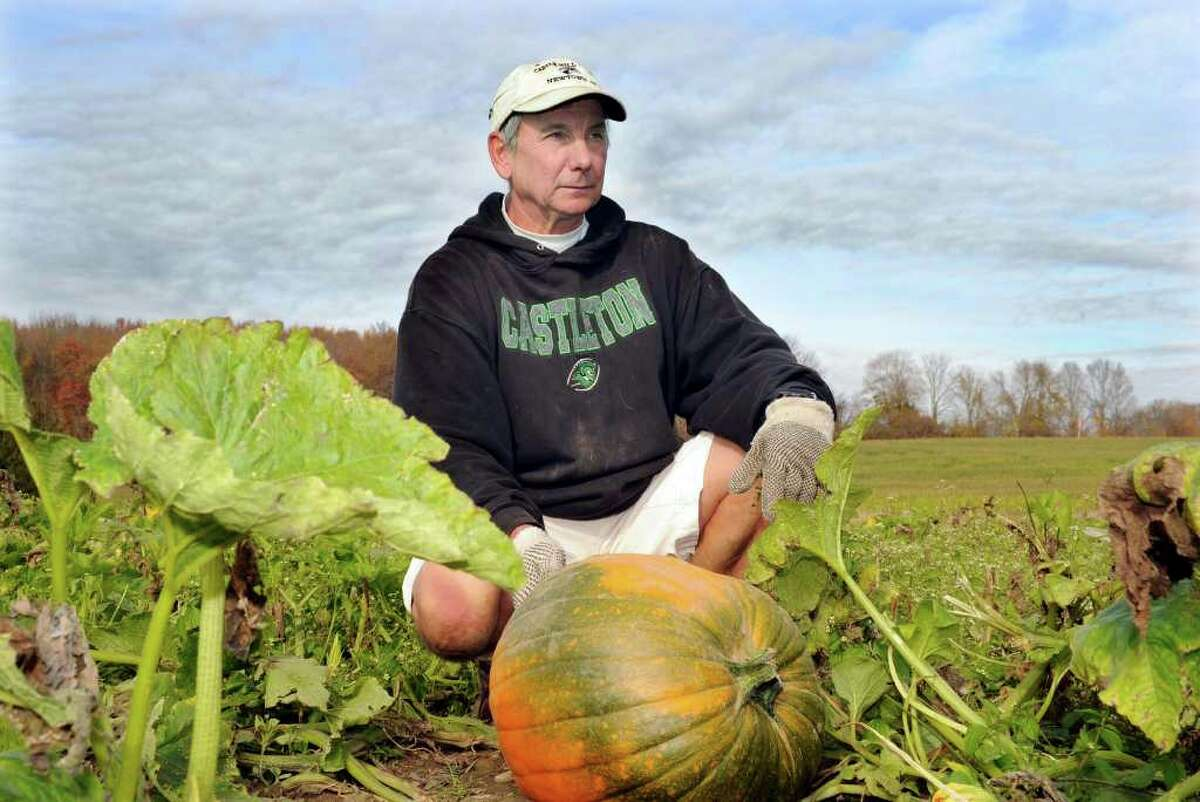 Stephen Paproski of Castle Hill farm in Newtown says his pumpkin crop is about 10 percent of last year's. Photo taken Wednesday, Oct. 26, 2011.