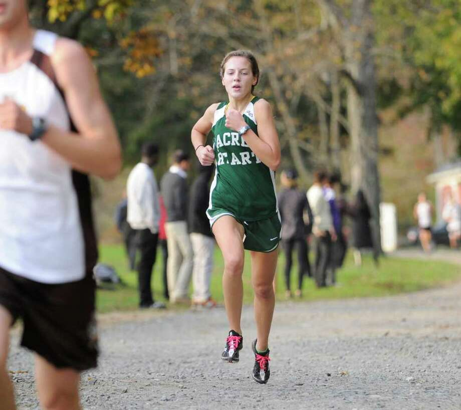 Julie Randolph of Convent of the Sacred Heart competes during high school cross country meet at Convent of the Sacred Heart, Greenwich, Wednesday afternoon Oct. 26, 2011. Photo: Bob Luckey / Greenwich Time