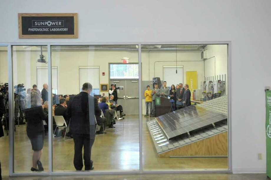 Senator Charles Schumer held the press event at HVCC Tech-Smart on Wednesday, Oct. 26, 2011 in Malta to announce support of legislation that would help community colleges to partner with local companies to train workers in the specific skills needed by local businesses.  (Paul Buckowski / Times Union) Photo: Paul Buckowski / 00015127A
