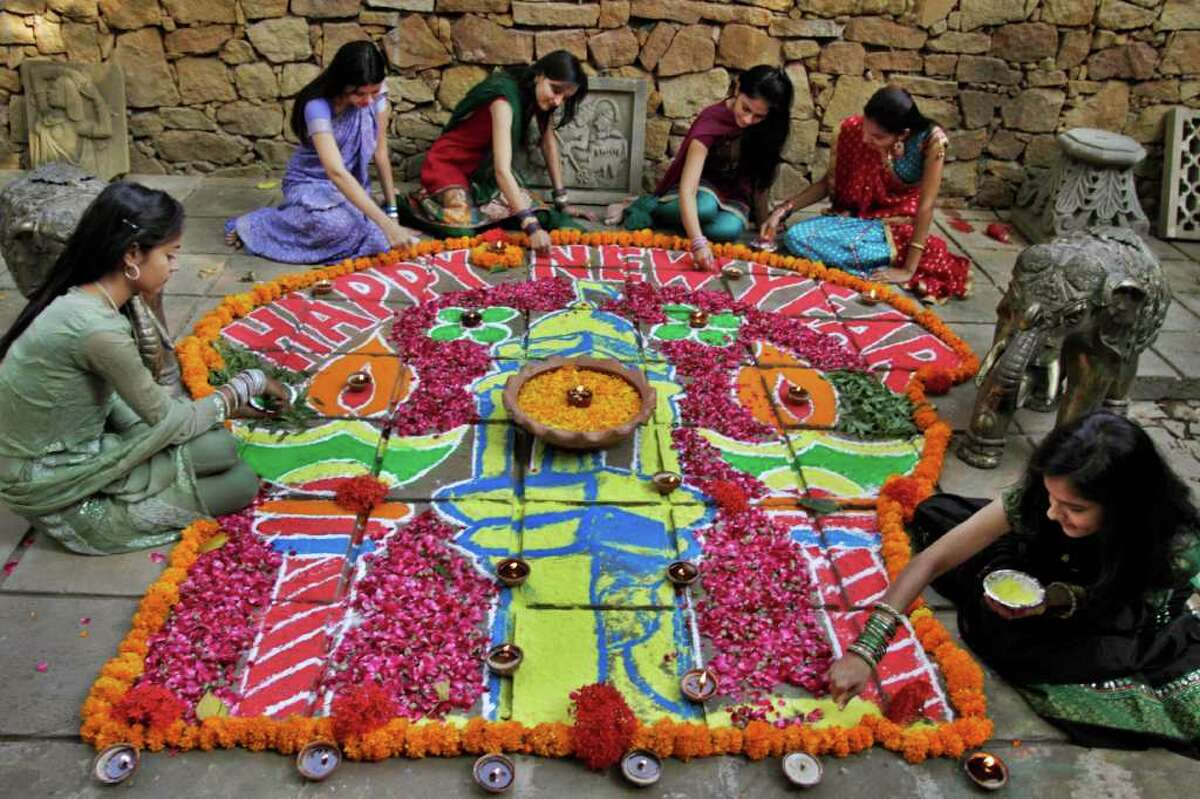 Projects like a  Rangoli, or decorated pattern on the floor,  are popular during  the festival of Diwali.