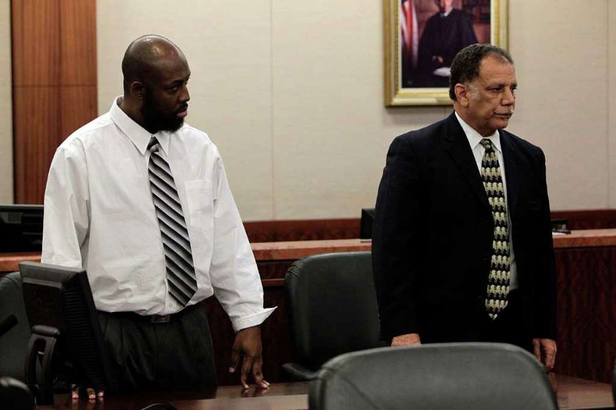 Standing next to his attorney Charles Brown, Roderick Fountain, 37, left, stands as the verdict of guilty is read for the murder of his 3-year-old son Kendrick Jackson in the 208th State District Criminal Court Wednesday, Oct. 26, 2011, in Houston. Witnesses said they saw the boy with bruises days before he disappeared on April 7, 2006, and at least one jailhouse inmate testified that Fountain confessed the crime to him. Kendrick Jackson is still missing.