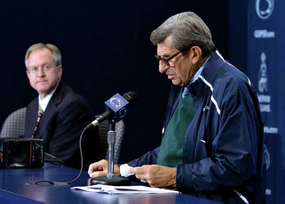 Penn State coach Joe Paterno answers questions during his weekly NCAA college football news conference on Tuesday, Oct. 25, 2011, in State College, Pa. (AP Photo/Ralph Wilson) Photo: Ralph Wilson