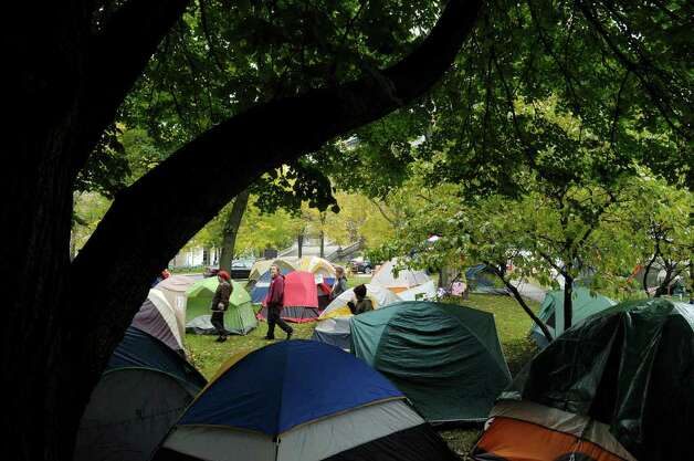 Tents fill an area  at the Occupy Albany encampment at Academy Park on Wednesday, Oct. 26, 2011 in Albany.  (Paul Buckowski / Times Union) Photo: Paul Buckowski