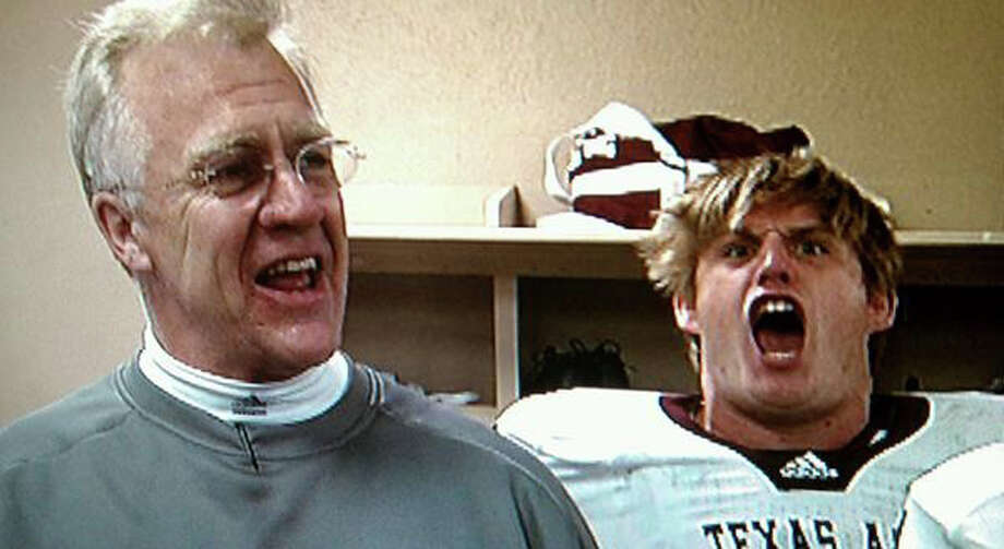 "A&M coach Mike Sherman (left) may joke that Spencer Nealy's energy level is a bit much, but ""you need those kinds of guys.""  PHOTO COURTESY OF 12th MAN PRODUCTIONS"