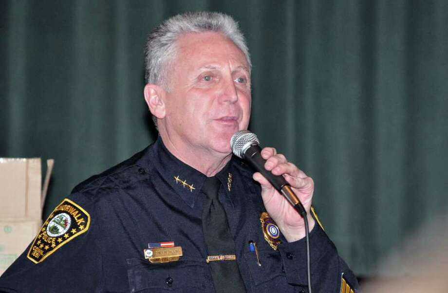 Norwalk Chief of Police Harry Rilling speaks during the Courage to Speak Empowering Youth to be Drug Free Family Night at West Rocks Middle School in Norwalk on Tuesday, Mar. 15, 2011. Rilling, whose contract expires in 2012, is in the running to be the next chief in Newport, R.I. Photo: Amy Mortensen, ST / Connecticut Post Freelance