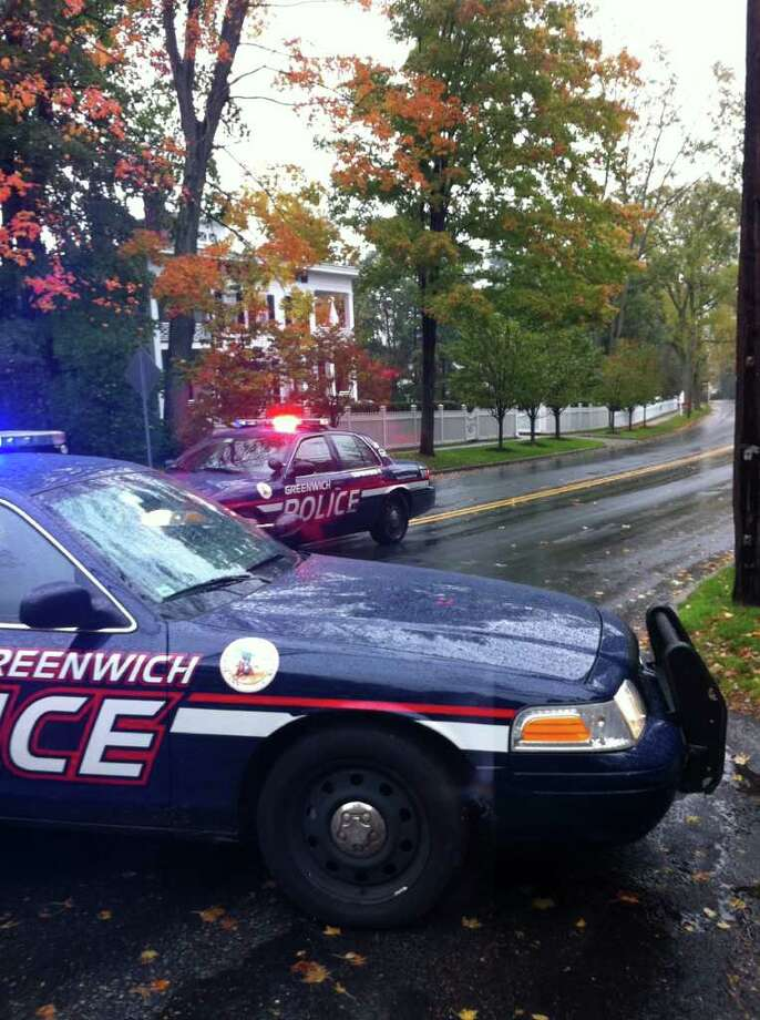 Two people were taken to hospital with unknown injuries following a three-vehicle accident in Greenwich around 12:40 p.m. on Thursday, Oct. 27, 2011. The accident occurred on North Street near Cottswood Road. A half-mile section on North Street was closed between Park Avenue and Andrews Road. Photo: Frank MacEachern