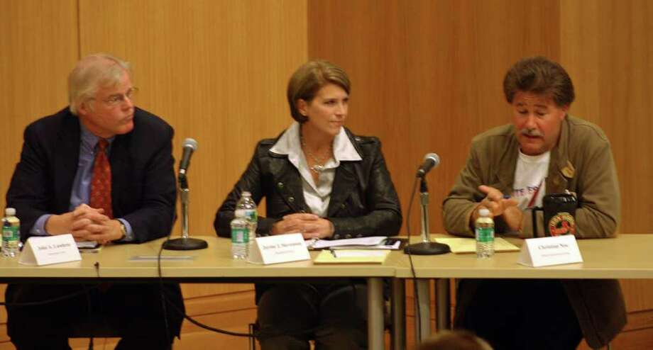John Lundeen, Jayme Stevenson and Chris Noe meet for a third debate in the community room at the Darien Library. Photo: Ben Holbrook