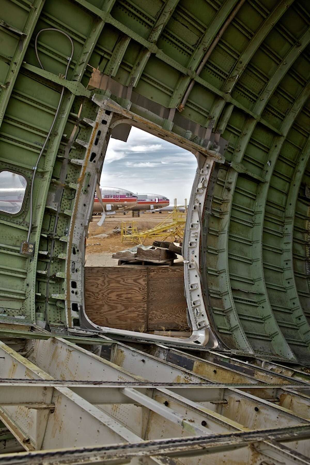 Inside an old airliner at the airplane graveyard near Mojave Air and Space Port, in Mojave, Calif.