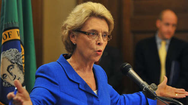 An unhappy Gov. Chris Gregoire addresses the media about her budget cutting ideas to deal with a $2 billion deficit in the state budget on Thursday, Oct. 27, 2011 in Olympia, Wash. Gregoire says about her options are limited. The state has already cut $10 billion from state government over the last three years. (AP Photo/The News Tribune, Lui Kit Wong)