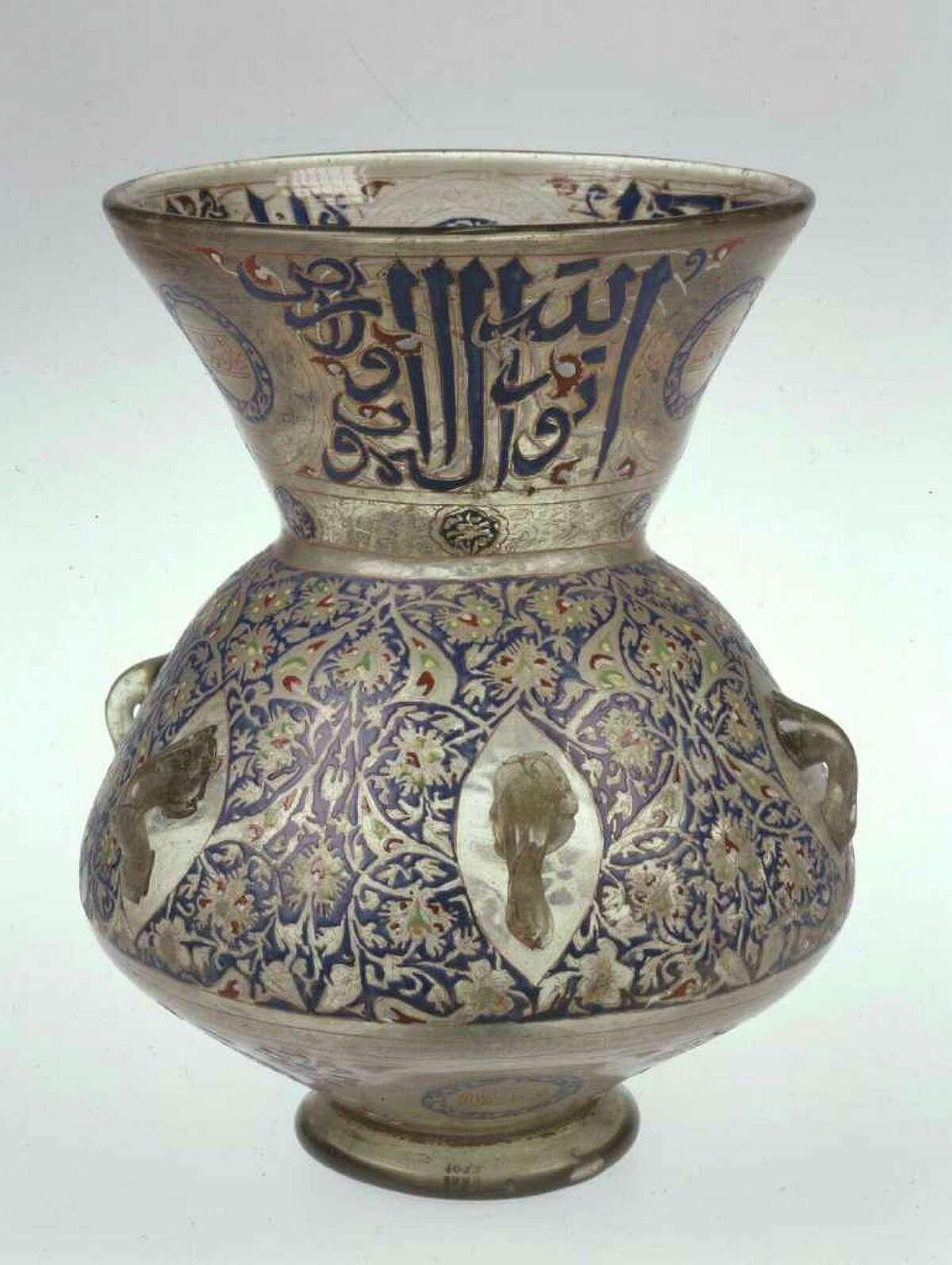 Mosque Lamp Egypt or Syria, c. 1354-61 Enameled and gilded glass Museu Calouste Gulbenkian, Lisbon (1022) Photo Museu Calouste Gulbenkina / Art Resrouce, NY, photo: Catarina Gomes Ferreira