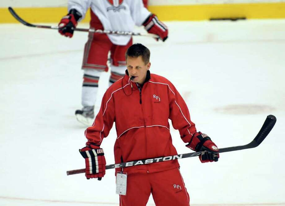 RPI coach Seth Appert oversees hockey practice on Wednesday, Oct. 26, 2011, at Rensselaer Polytechnic Institute in Troy, N.Y. (Cindy Schultz / Times Union) Photo: Cindy Schultz / 00015129A