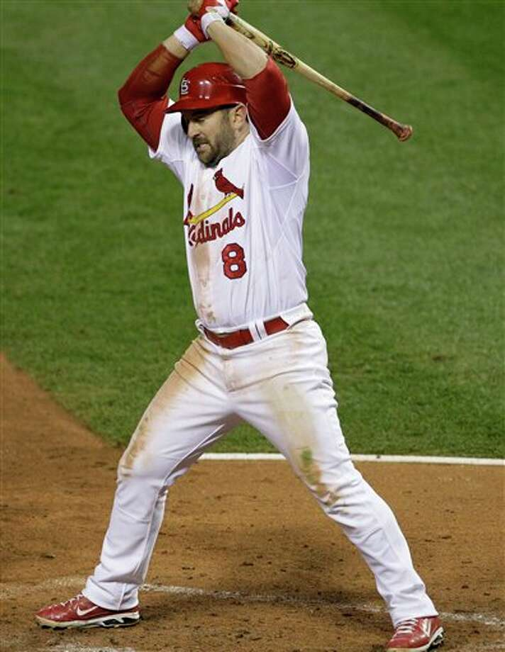 St. Louis Cardinals' Nick Punto reacts  after striking out during the fourth inning of Game 6 of baseball's World Series against the Texas Rangers Thursday, Oct. 27, 2011, in St. Louis.  (AP Photo/Paul Sancya) Photo: Express-News